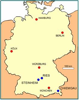 Karte von Deutschland mit den deutschen Meteoritenkratern Impaktstrukturen Ries Krater Steinheimer Becken Chiemgau Impakt